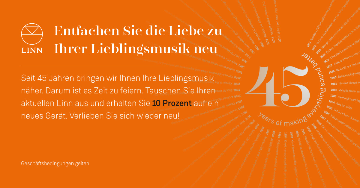 Website banner Orange With Text No button 1200x628 - Linn Summer Promo 2018, Linn Produkt eintauschen 10% Rabatt auf neues Gerät! Bis 27.8.18